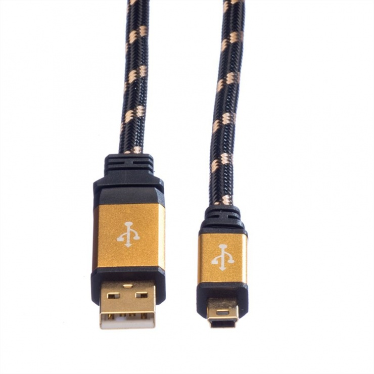 Imagine Cablu GOLD USB 2.0 la mini USB T-T 0.8m, Roline 11.02.8821