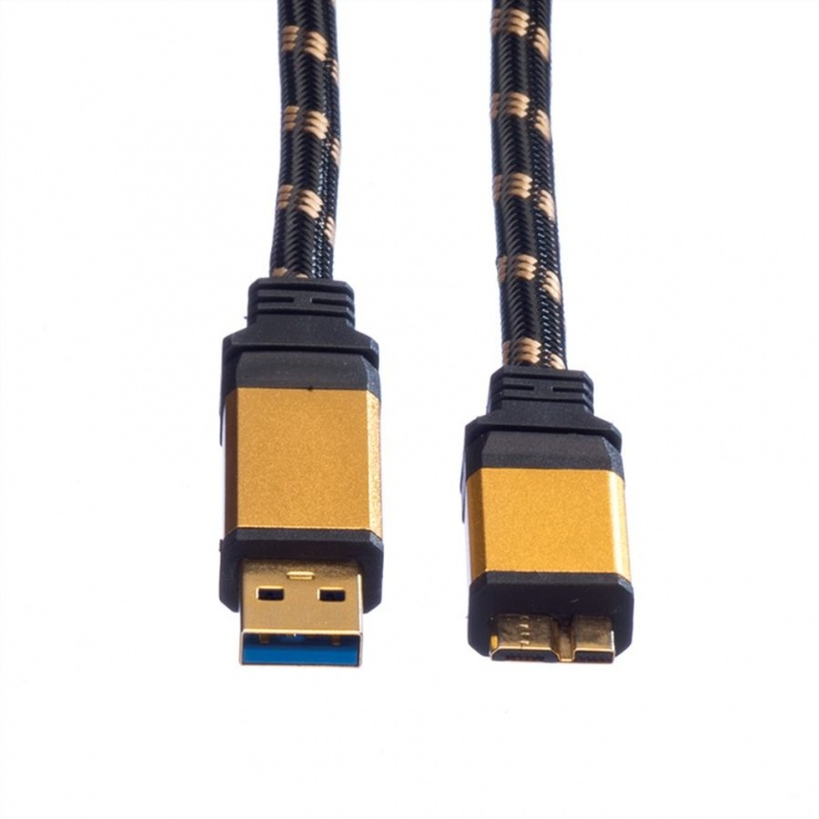 Imagine Cablu GOLD USB 3.0 la micro USB T-T 2m, Roline 11.02.8879