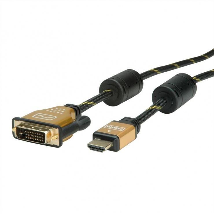Imagine Cablu HDMI la DVI 24+1 pini T-T GOLD 2m, Roline 11.04.5891-3