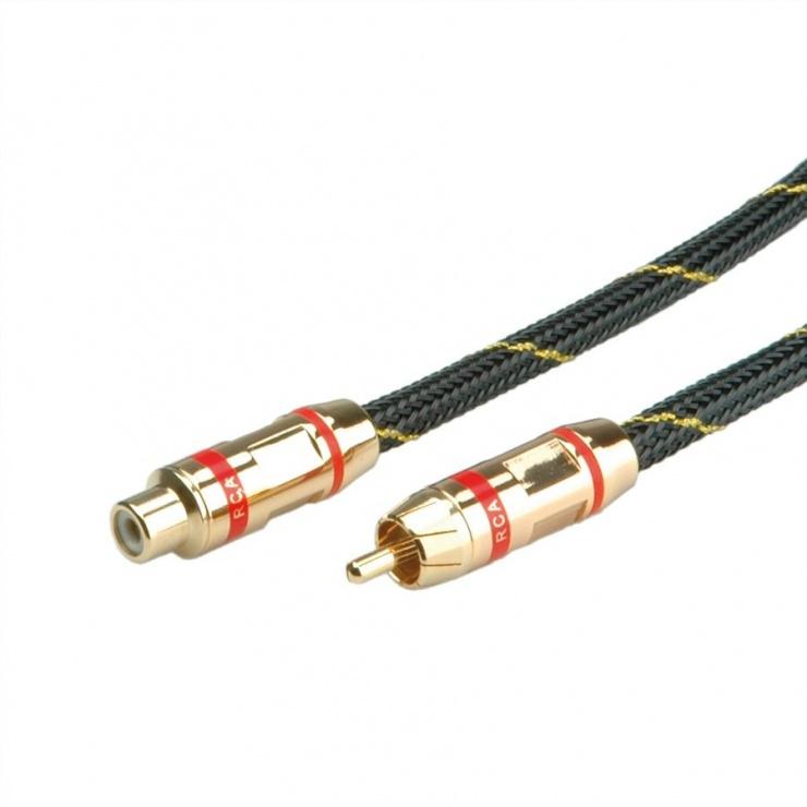 Imagine Cablu GOLD prelungitor audio RCA rosu T-M 10m, Roline 11.09.4294