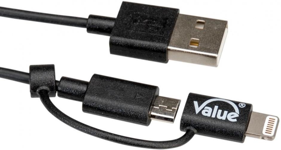 Imagine Cablu USB la micro USB-B + adaptor Lightning iPhone 5/6/7 Negru 1m, Value 11.99.8325-3