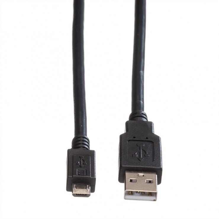 Imagine Cablu USB 2.0 la micro USB 0.8m T-T negru, Roline 11.02.8754-1