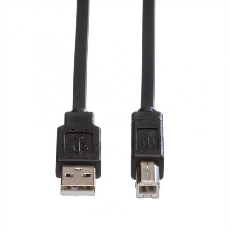 Imagine Cablu de imprimanta USB A la B 0.8m Negru Flat, Roline 11.02.8867-1