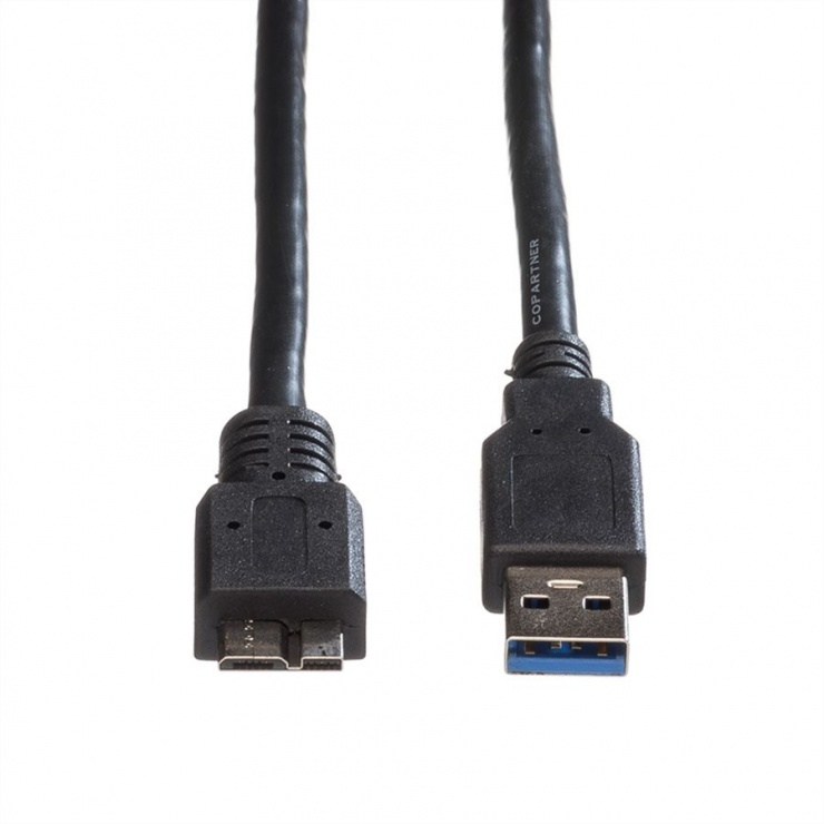 Imagine Cablu USB 3.0-A la micro USB-B T-T 0.8m Negru, Roline 11.02.8873