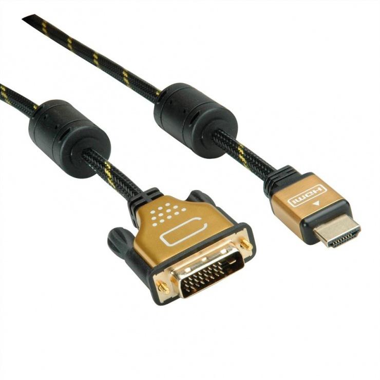 Imagine Cablu HDMI la DVI 24+1 pini T-T GOLD 2m, Roline 11.04.5891