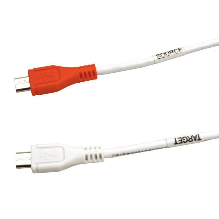 Imagine Cablu de incarcare micro USB-B T-T Alb 0.3m, Value 11.99.8307-4