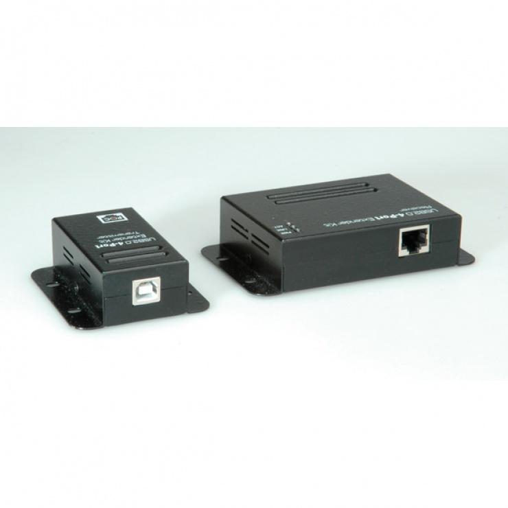 Imagine Extender USB pana la 50m via RJ45 + HUB 4 porturi, Roline 12.04.1101-1