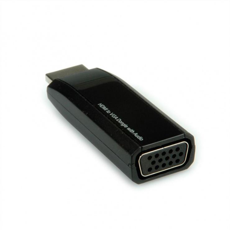 Imagine Adaptor HDMI la VGA cu audio T-M Negru, Roline 12.03.3117