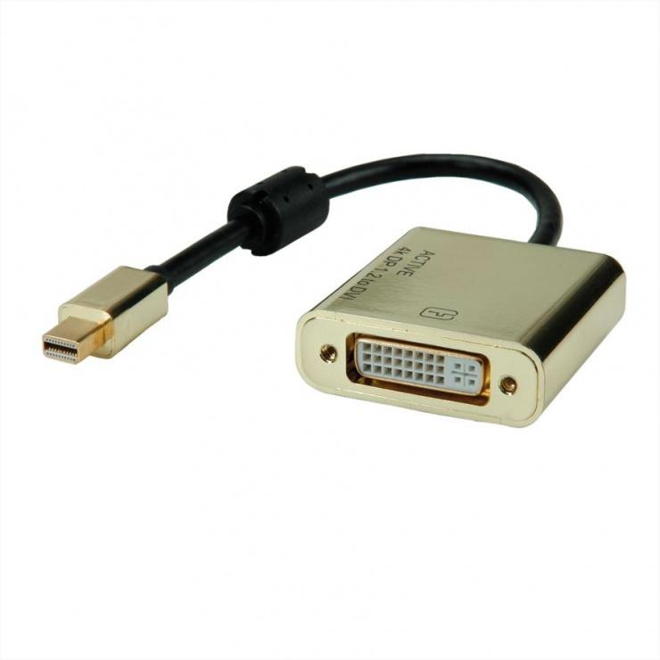 Imagine Adaptor Mini DisplayPort la DVI GOLD 4K2K T-M, Roline 12.03.3176