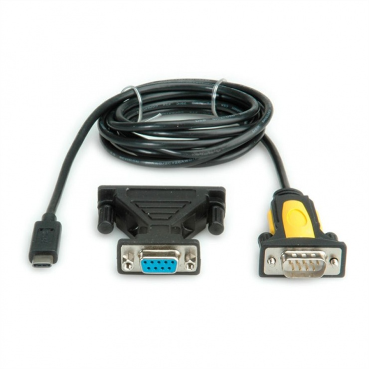 Imagine Cablu USB tip C la serial RS232 + adaptor 25 pini 1.8m, Value 12.99.1161
