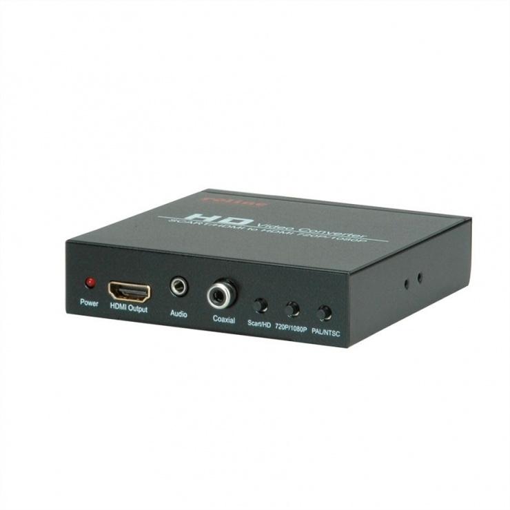Imagine Convertor SCART + HDMI  la HDMI 720p / 1080p, Roline 14.01.3463
