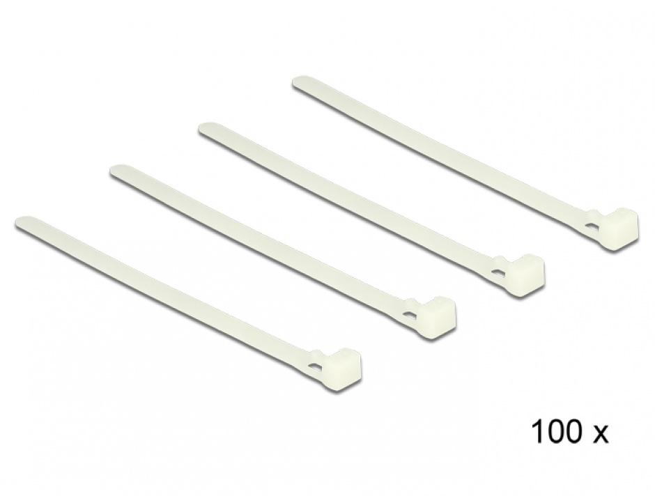 Imagine Set 100 bride reutilizabile albe 150mm x 7.2mm, Delock 18638