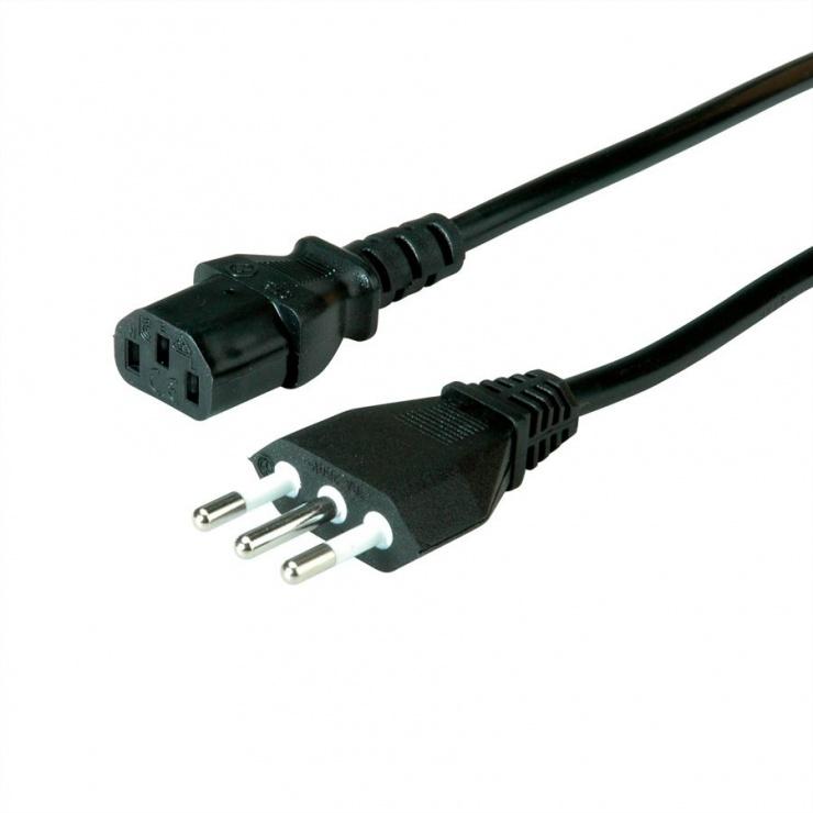 Imagine Cablu de alimentare CEI23-50 Italy la C13 10A negru 1.8m, Value 19.99.2072