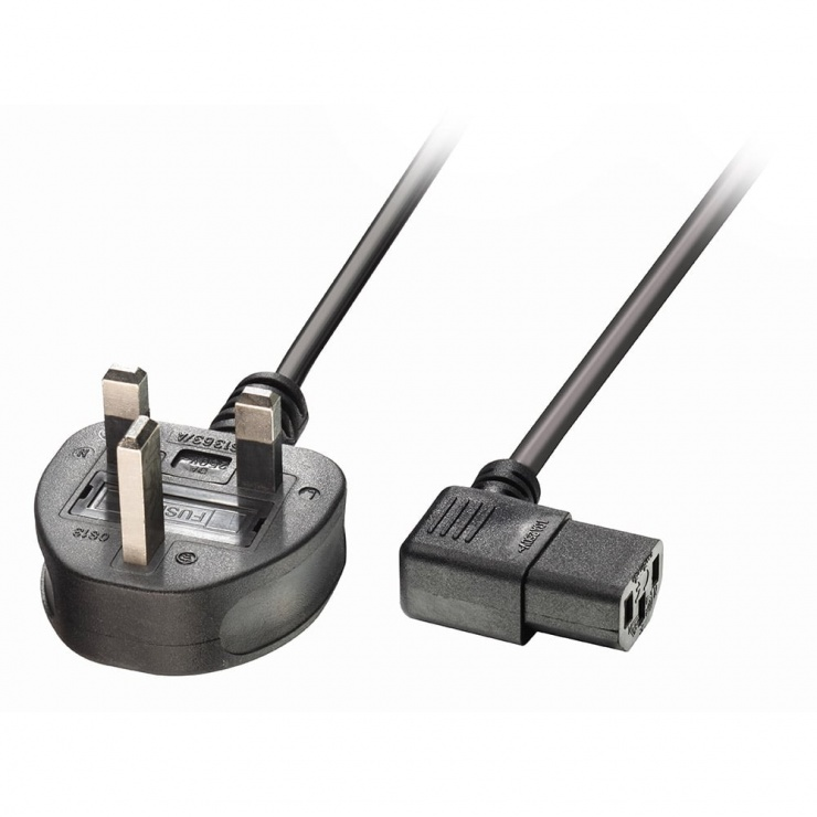 Imagine Cablu de alimentare UK la IEC C13 unghi 1m Negru, Lindy L30446