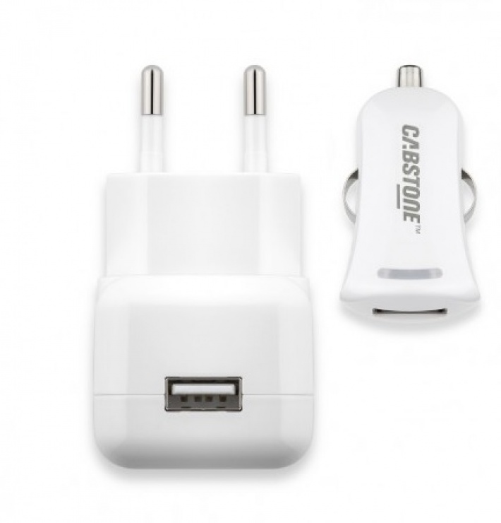 Imagine Kit Incarcator auto + incarcator priza 1 x USB 2.1A, Cabstone W63049