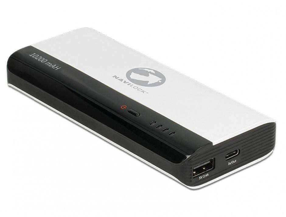 Imagine Power Bank 10200 mAh cu 1 x USB-A 5V/2.4A+ 1 x USB-C 5V/3A, Navilock 41502