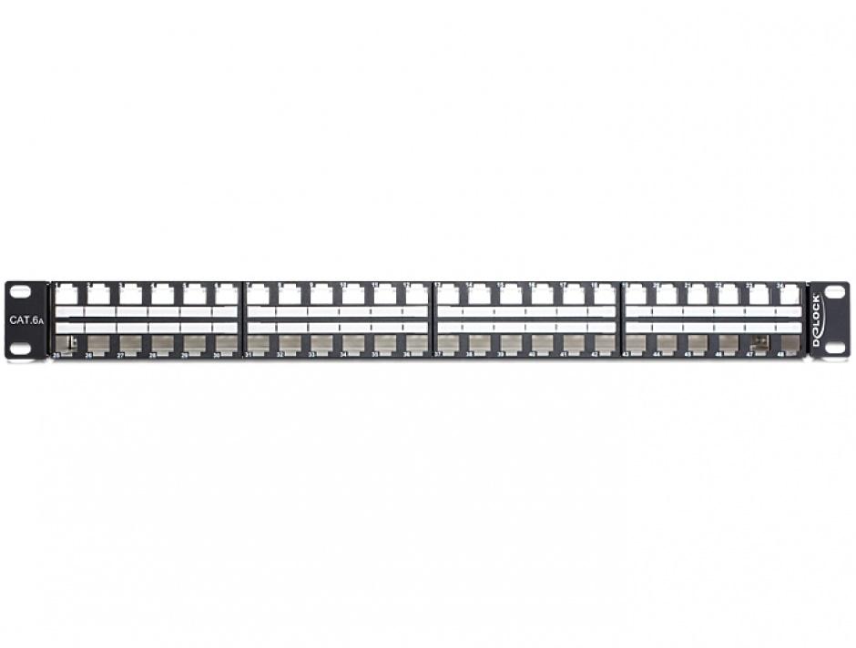 """Imagine Patch Panel 19"""" 1U pentru keystone 48 porturi, negru Delock 43280"""