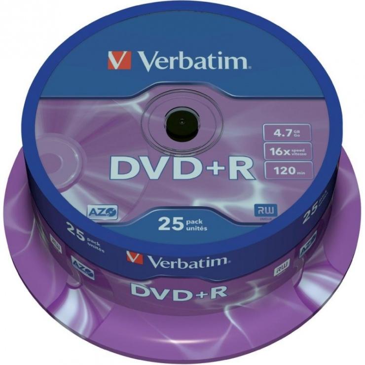Imagine DVD+R Verbatim Matt Silver SL 16X 4.7 GB 25 buc