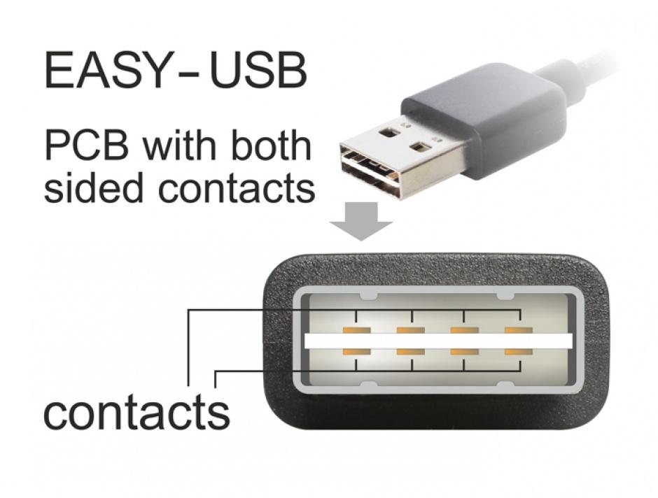 Imagine Cablu EASY-USB 2.0 tip A unghi stanga/dreapta la micro USB-B EASY-USB T-T 5m Alb, Delock 85174