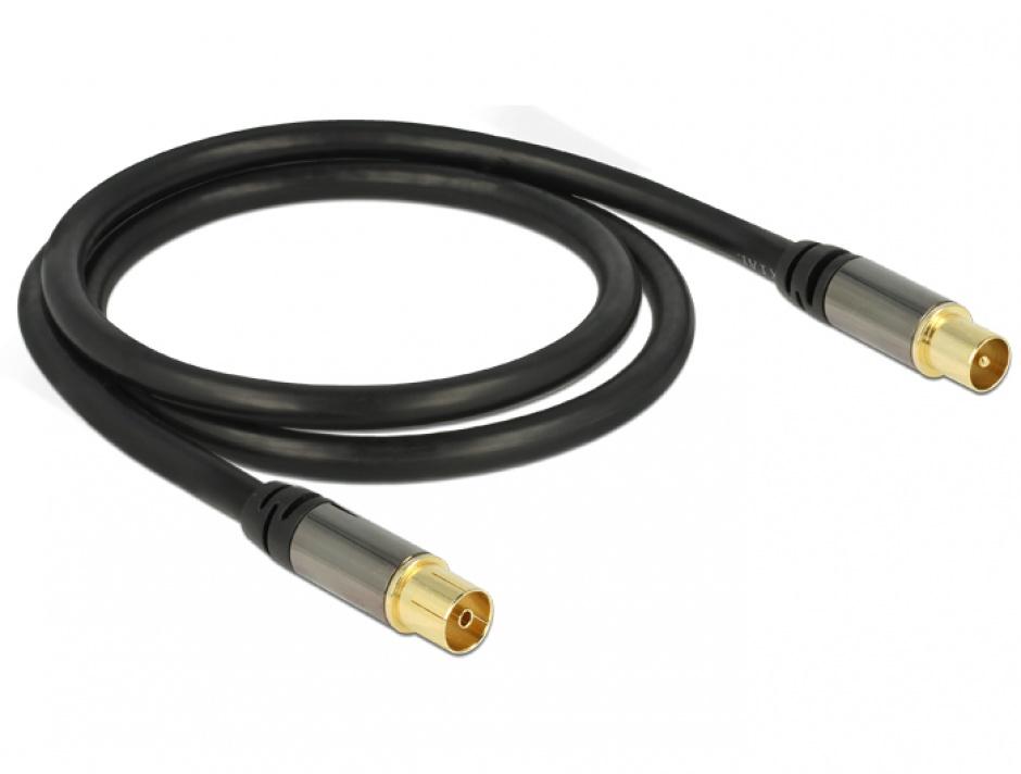 Imagine Cablu prelungitor antena IEC Plug la IEC Jack RG-6/U 2m Negru, Delock 88923-1