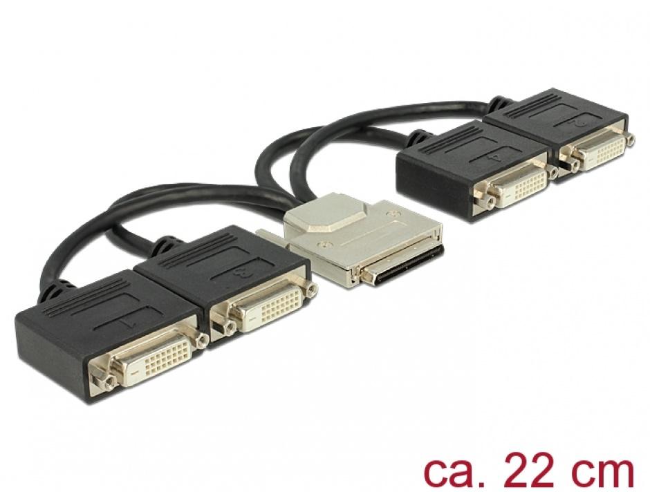 Imagine Adaptor VHDCI-68 pini la 4 x DVI 24+1 pini T-M 22cm, Delock 65649