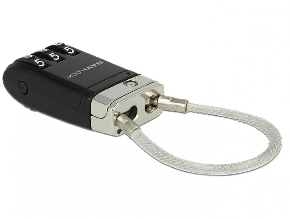 Imagine Cablu pentru blocarea portului USB cu cifru, Navilock 20647