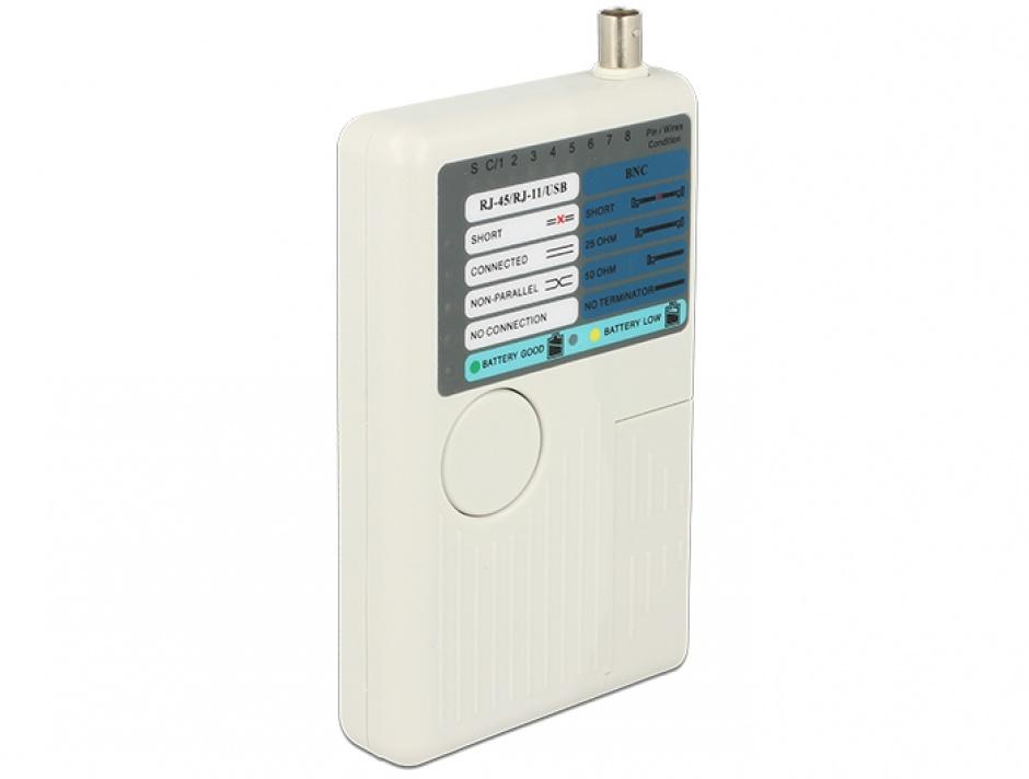 Imagine Tester RJ45 / RJ12 / BNC / USB, Delock 86106