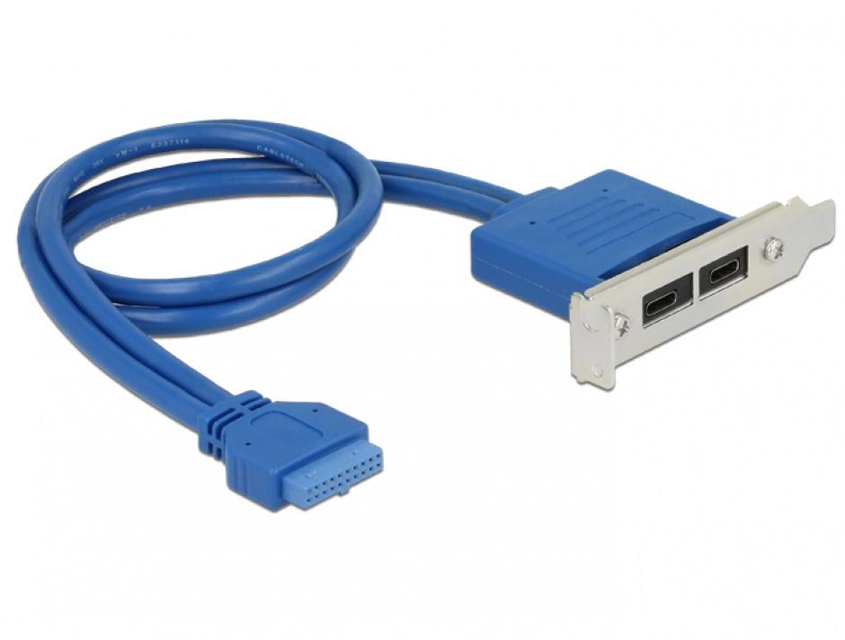 Imagine Bracket USB 3.1 pin header 19 pini mama la 2 x USB-C Low Profile, Delock 84929-1