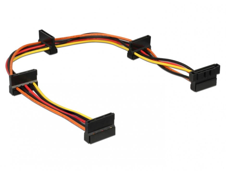Imagine Cablu de alimentare SATA la 4 x SATA 15 pini 40cm, Delock 60141