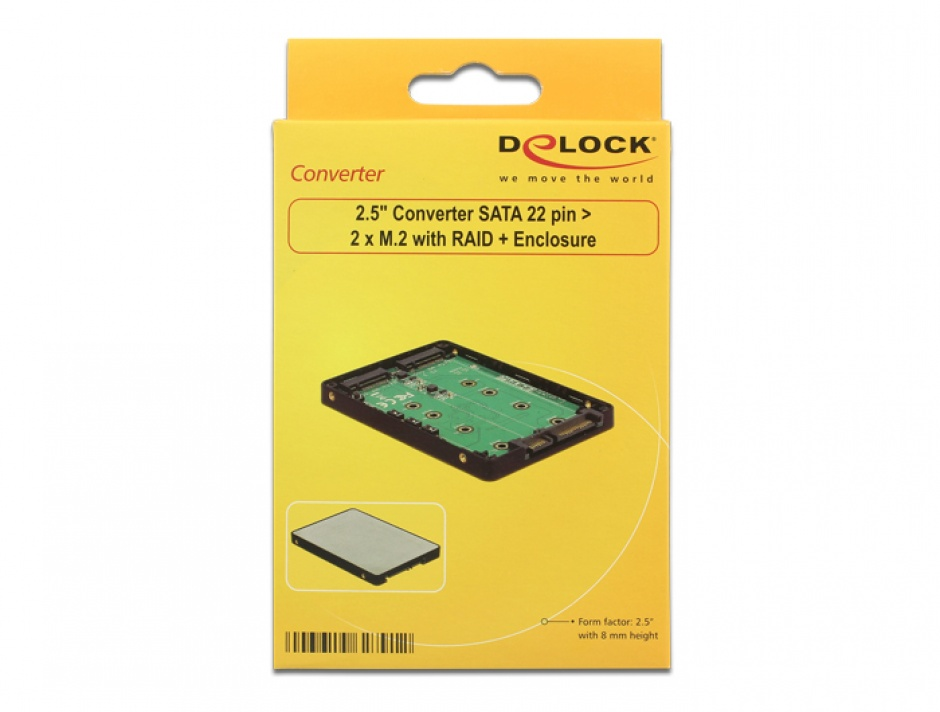 "Imagine Adaptor 2.5"" SATA 22 pini la 2 x M.2 RAID + rack extern, Delock 62791-5"