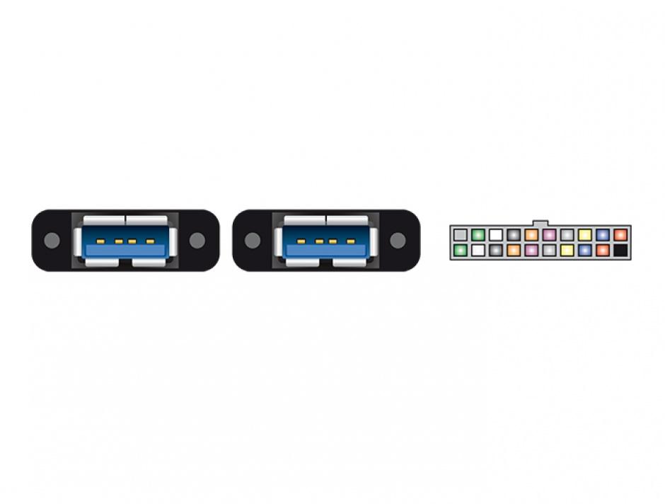 Imagine Cablu pin header USB 3.0 19 pini 2.00 mm la 2 x USB 3.0-A M-M 0.8m, Delock 85244 -1