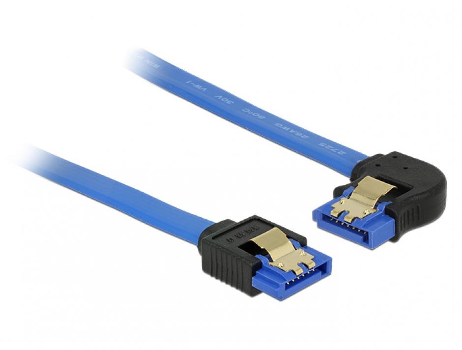 Imagine Cablu SATA III 6 Gb/s unghi drept-stanga Bleu 30cm, Delock 84984