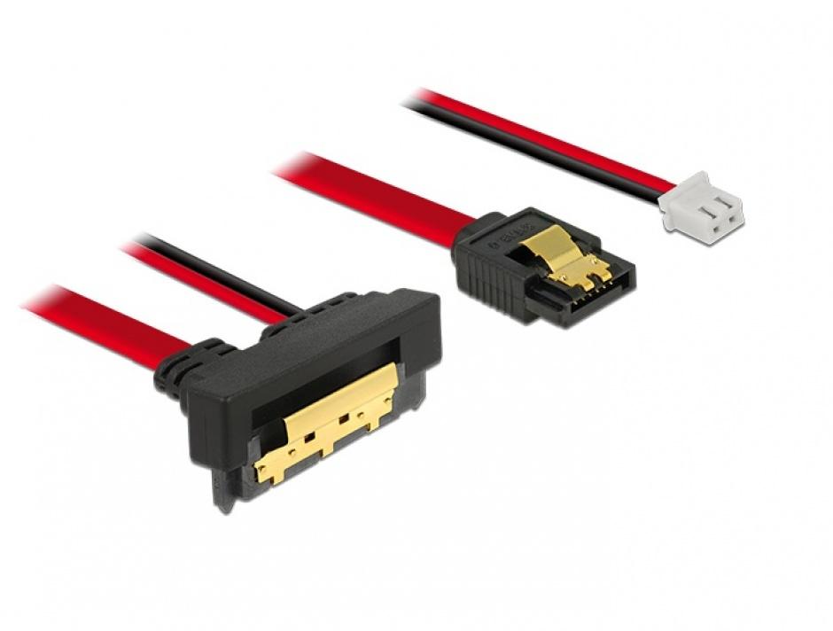 Imagine Cablu de date + alimentare SATA 22 pini 5V 6 Gb/s cu clips la Alimentare 2 pini + SATA 7 pini unghi jos/drept 30cm, Delock 85243