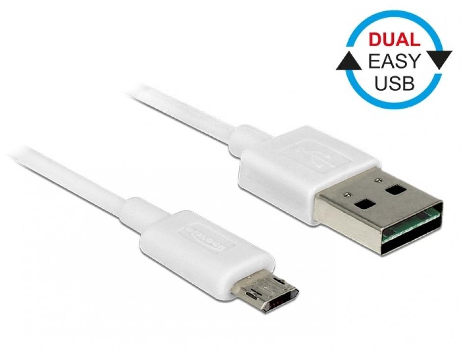 Imagine Cablu micro USB-B EASY-USB la USB-A 2.0 EASY-USB T-T 5m Alb, Delock 85205