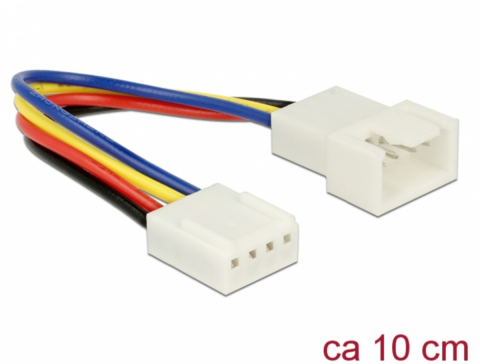 Imagine Cablu prelungitor alimentare ventilator PWM 4 pini T-M 10cm, Delock 85360