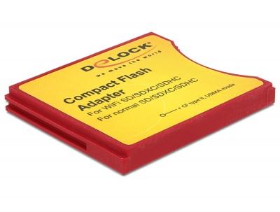Imagine Adaptor Compact Flash tip II la iSDIO (WiFi SD), SDHC, SDXC, Delock 62542