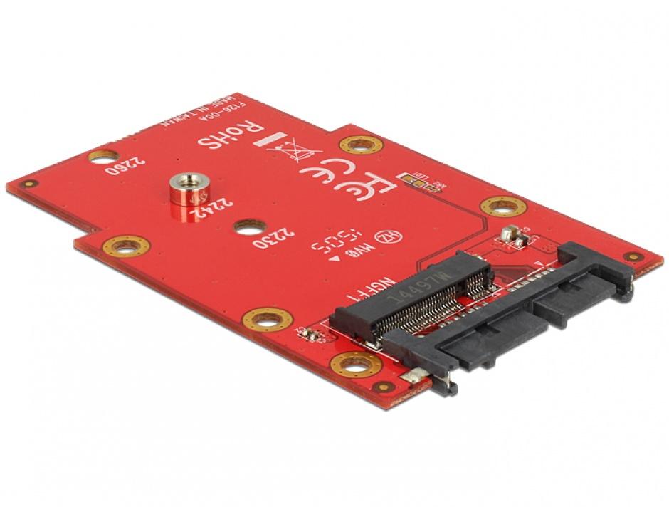 "Imagine Adaptor micro SATA 16 pini 1.8"" la M.2 NGFF, Delock 62636"