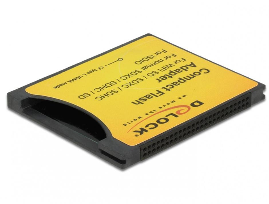 Imagine Adaptor Compact Flash tip I la iSDIO (WiFi SD), SDHC, SDXC, Delock 62637