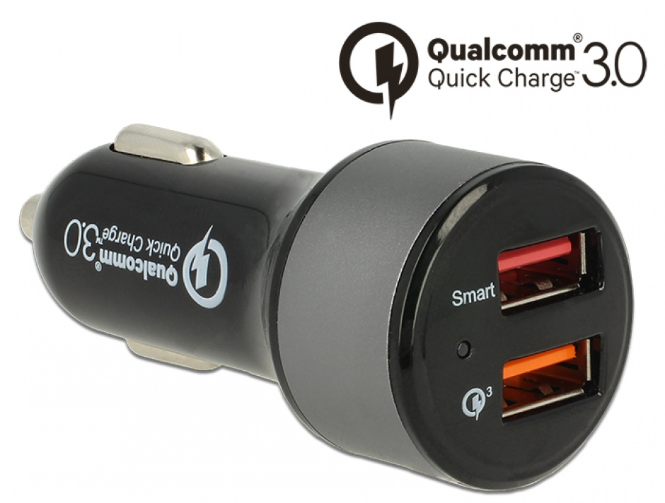 Imagine Incarcator auto cu 2 x USB Qualcomm® Quick/Fast Charge 3.0 (incarcare rapida), Navilock 62739