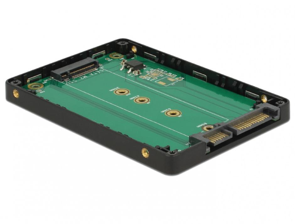 "Imagine Adaptor 2.5"" SATA 22 pini la M.2 cu rack extern, Delock 62792-3"