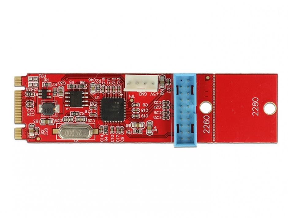 Imagine Convertor M.2 Key B+M la 1 x Pin Header USB 3.0, Delock 62842-3