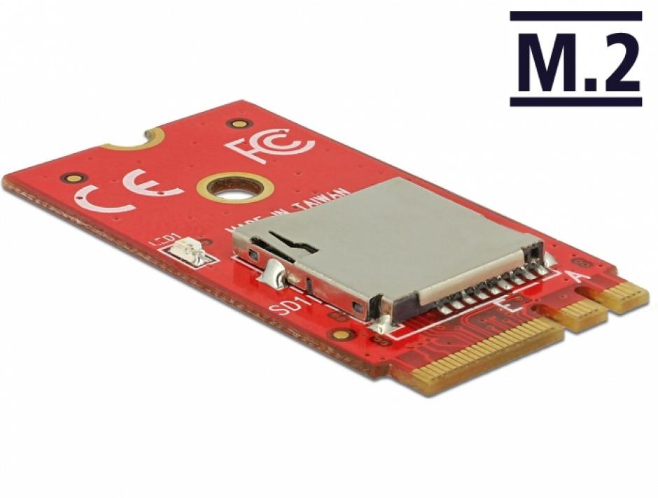 Imagine Adaptor M.2 Key A+E la 1 x Micro SD Card Slot, Delock 62979