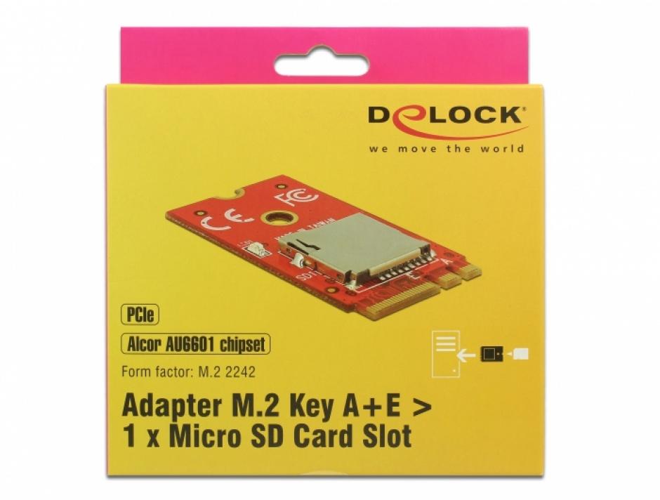 Imagine Adaptor M.2 Key A+E la 1 x Micro SD Card Slot, Delock 62979-2
