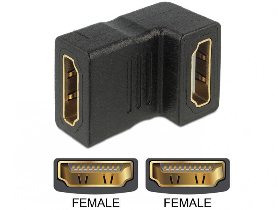 Imagine Adaptor HDMI M-M unghi 90 grade jos, Delock 65075