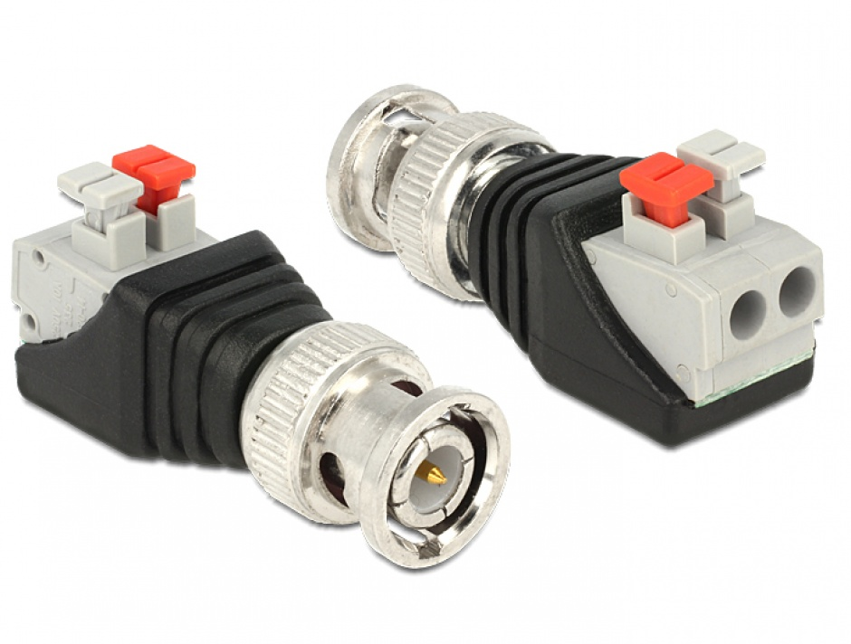 Imagine Adaptor BNC tata la bloc terminal 2 pini, Delock 65525