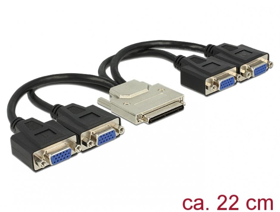 Imagine Adaptor VHDCI-68 pini la 4 x VGA T-M 22cm, Delock 65647