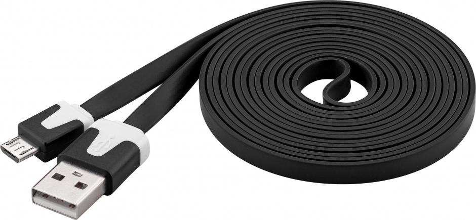 Imagine Cablu date si incarcare USB la micro USB-B Flat Negru 2m, Goobay W68796