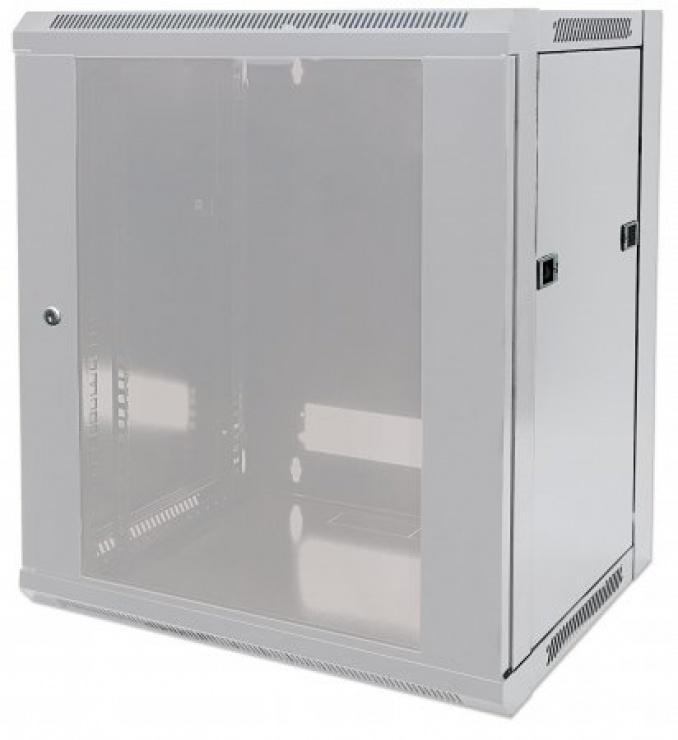 """Imagine Cabinet 19""""  fixare pe perete Flatpack 12U Grey, Intellinet 711876"""