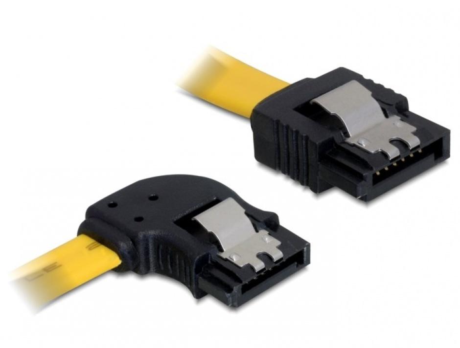 Imagine Cablu SATA II 3 Gb/s 30cm stanga/drept galben, Delock 82492