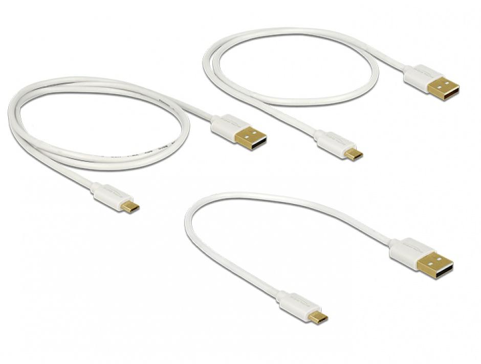 Imagine Cablu de date si incarcare Quick/Fast Charging (incarcare rapida) USB 2.0 la micro USB-B 3 buc/set A